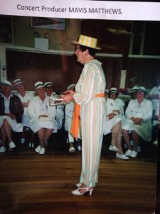 Mavis performing in home-made theatre production for the bowling ladies